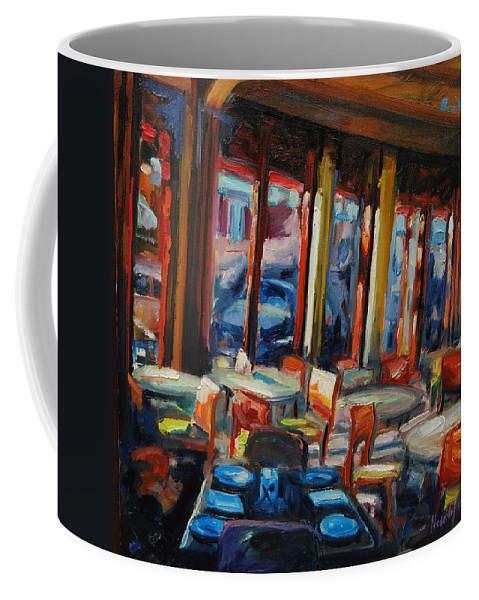 Cityscape Coffee Mug featuring the painting Restaurant On Columbus by Rick Nederlof