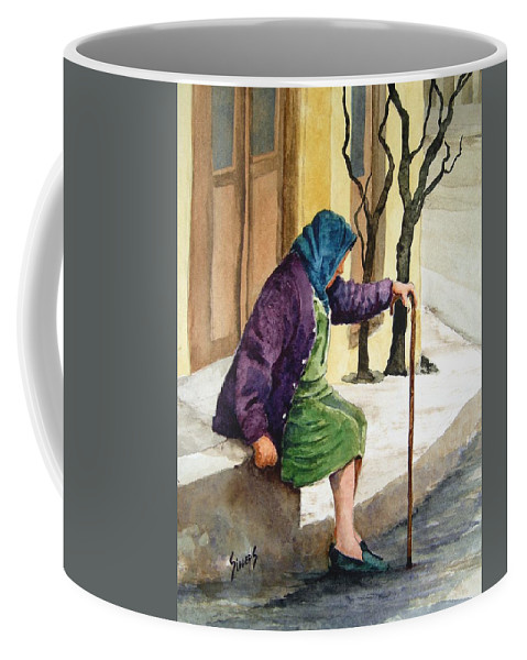 Old Lady Coffee Mug featuring the painting Resting by Sam Sidders