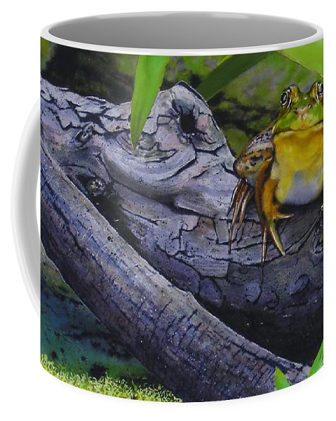 Frog Coffee Mug featuring the painting Restingplace by Denny Bond