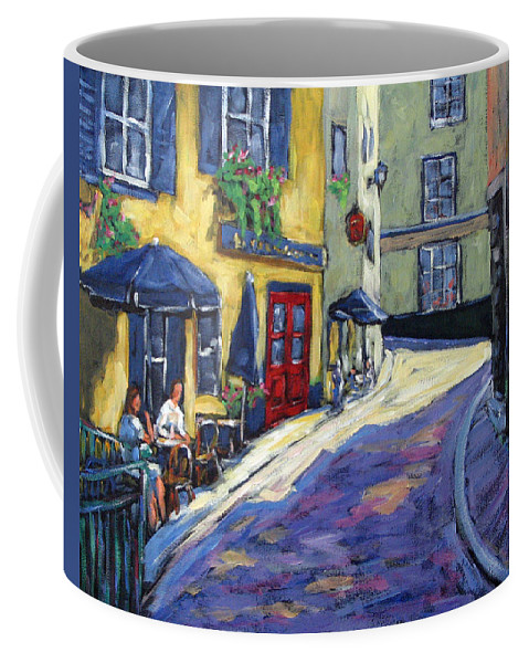 Restaurant Coffee Mug featuring the painting Resto Le Cochon Dingue In Old Quebec by Richard T Pranke