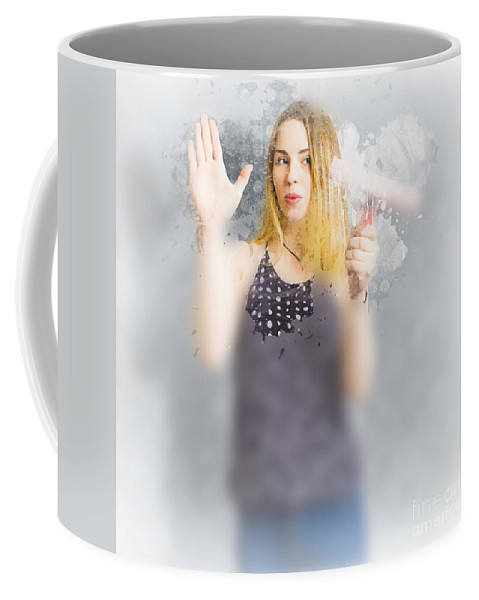 Housewife Coffee Mug featuring the photograph Retro Bathroom Cleaning Duties by Jorgo Photography - Wall Art Gallery