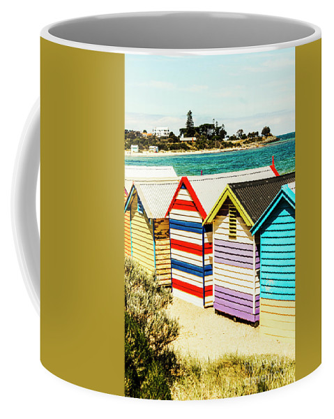 Melbourne Coffee Mug featuring the photograph Retro Beach Boxes by Jorgo Photography - Wall Art Gallery