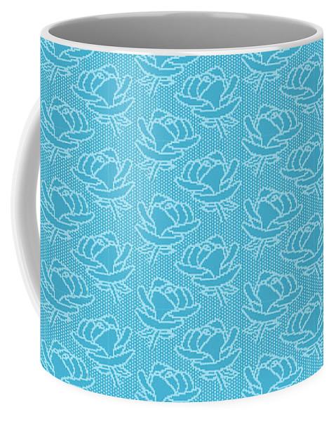 Retro Coffee Mug featuring the digital art Retro Blue Pattern by Alejandra Ortega