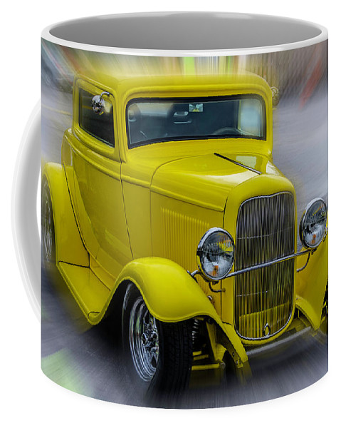 Car Coffee Mug featuring the photograph Retro Car In Yellow by Wolfgang Stocker