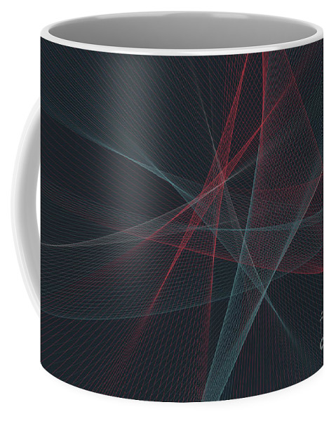 Abstract Coffee Mug featuring the digital art Retro Computer Graphic Line Pattern by Frank Ramspott
