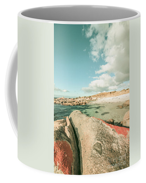 Sea Coffee Mug featuring the photograph Retro Filtered Beach Background by Jorgo Photography - Wall Art Gallery