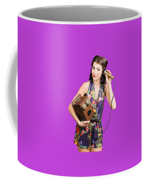 Reception Coffee Mug featuring the photograph Retro Receptionist On Vintage Telephone. Call Us by Jorgo Photography - Wall Art Gallery