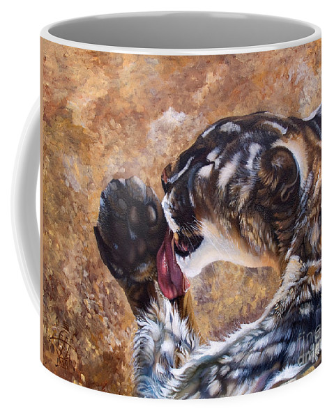 Catamount Coffee Mug featuring the painting Reverie by J W Baker
