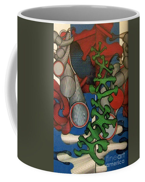 Abstract Tubular Color Coffee Mug featuring the drawing Rfb0107 by Robert F Battles