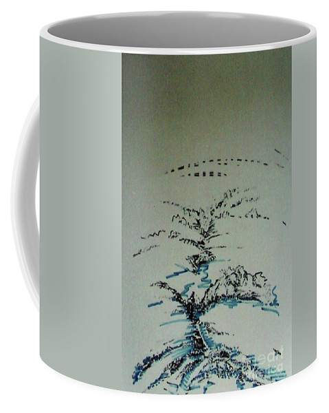 Abstract Valley Coffee Mug featuring the drawing Rfb0206-2 by Robert F Battles