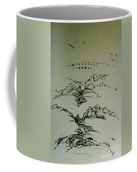 Abstract Bleeds Coffee Mug featuring the drawing Rfb0209 by Robert F Battles