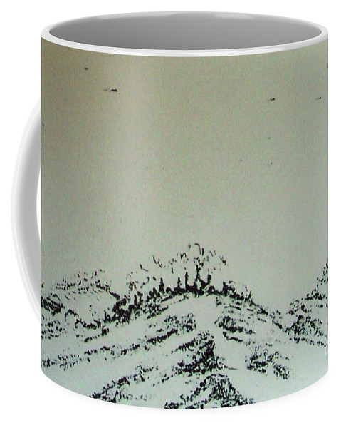Snowy Landscape Coffee Mug featuring the drawing Rfb0212-2 by Robert F Battles