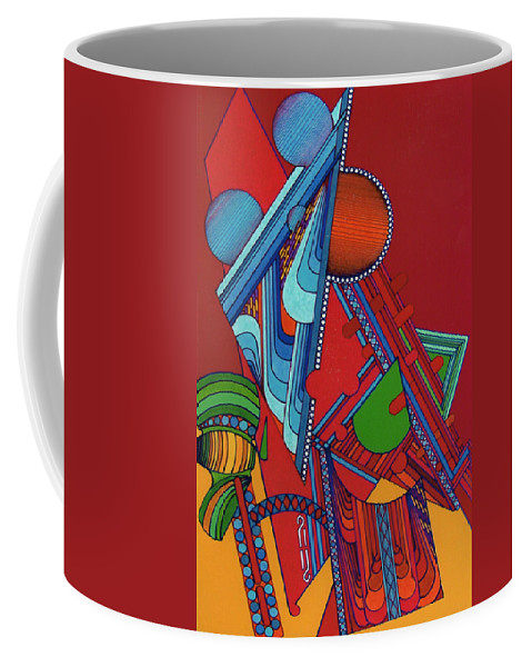Red & Yellow Triangular Abstract Coffee Mug featuring the drawing Rfb0301 by Robert F Battles