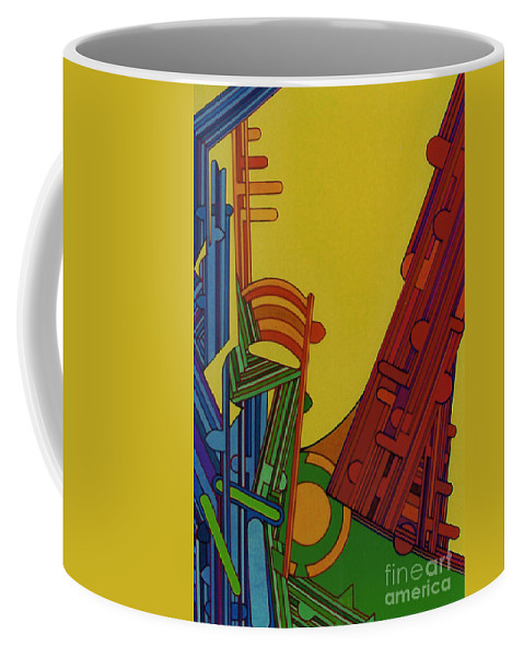 Yellow Abstract Coffee Mug featuring the drawing Rfb0303 by Robert F Battles