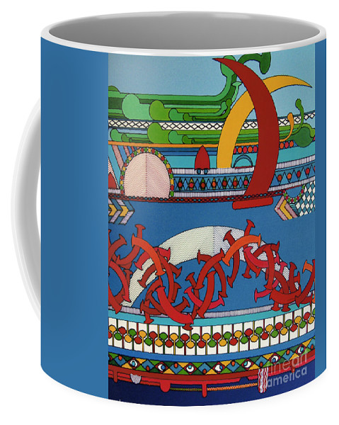 Dancing Shapes Coffee Mug featuring the drawing Rfb0403 by Robert F Battles