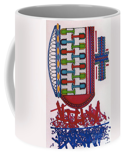 Abstract Coffee Mug featuring the drawing Rfb0409 by Robert F Battles