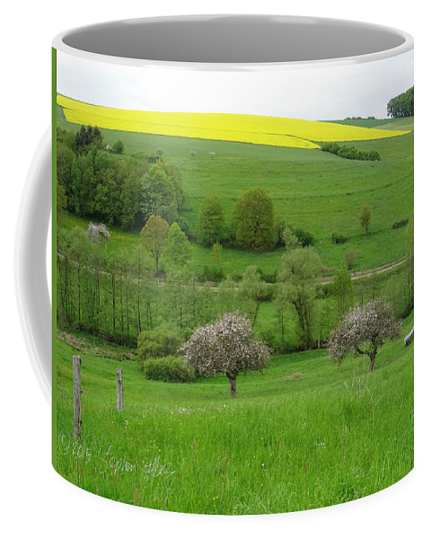 Landscape Coffee Mug featuring the photograph Rhineland-palatinate Summer Meadow With Cherry Trees by Stephen Settles