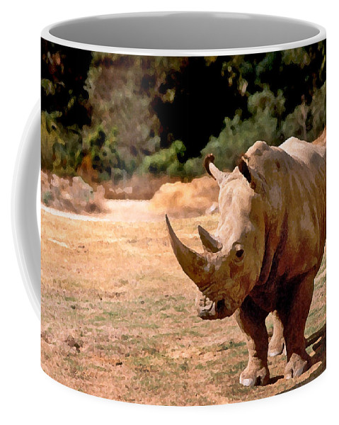Animal Coffee Mug featuring the painting Rhino by Steve Karol
