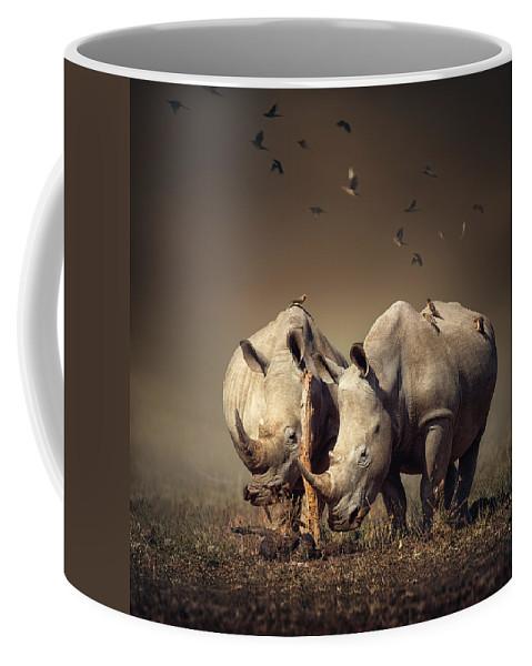Rhinoceros Coffee Mug featuring the photograph Rhino's With Birds by Johan Swanepoel