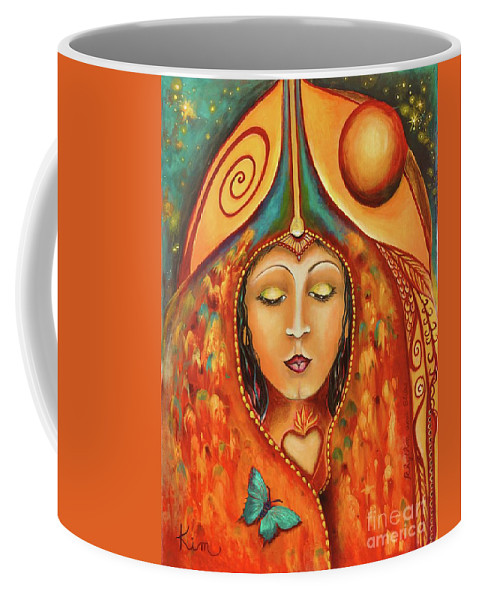 Muse Coffee Mug featuring the painting Rhythm And Blues Muse by Kim Morris