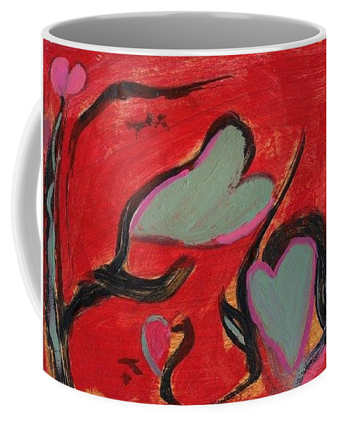 Hearts Red Love Abstract Coffee Mug featuring the painting Rhythm of Love by Patricia Byron