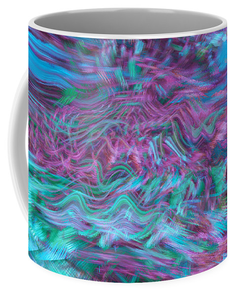Abstract Art Coffee Mug featuring the digital art Rhythmic Waves by Linda Sannuti