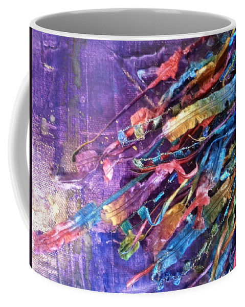 Coffee Mug featuring the mixed media Ribbons 3 by Jan Pellizzer