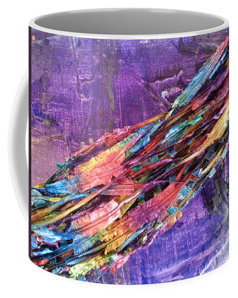 Coffee Mug featuring the mixed media Ribbons by Jan Pellizzer