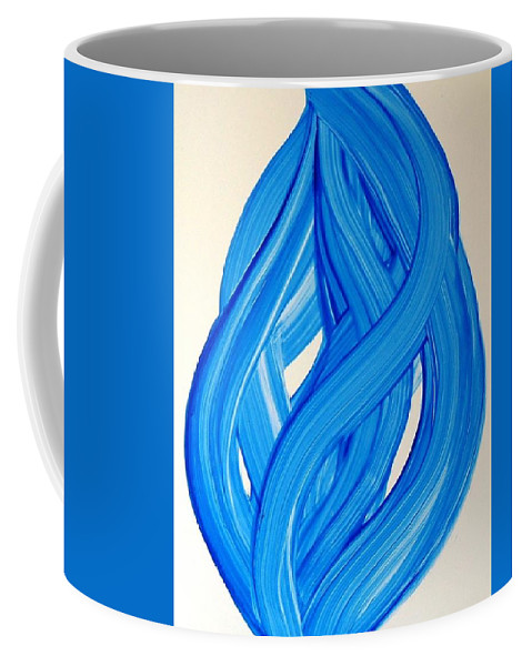Abstract Modern Contemporary Yupo Art Painting Romantic Pop Blue Coffee Mug featuring the painting Ribbons Of Love-blue by Manjiri Kanvinde