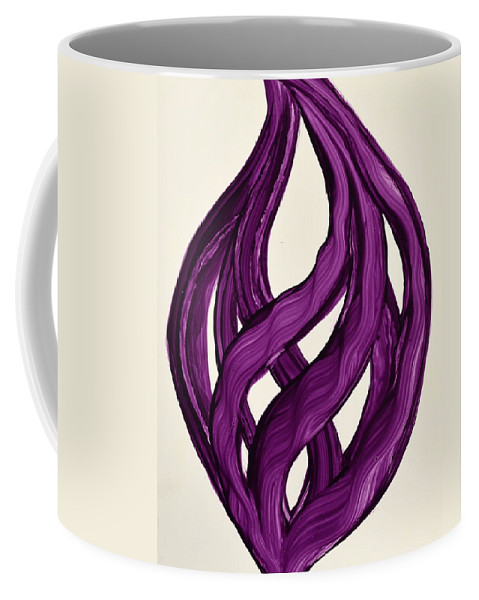 Abstract Art Yupo Comtemporary Modern Pop Romantic Vibrant Coffee Mug featuring the painting Ribbons Of Love-violet by Manjiri Kanvinde
