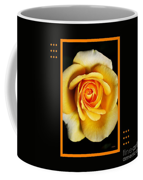 Rose Coffee Mug featuring the photograph Rich And Dreamy Yellow Rose With Design by Joy Watson