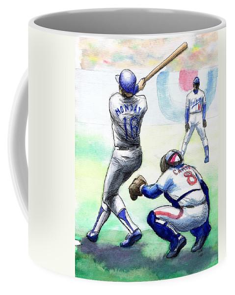 Nostalgia Coffee Mug featuring the drawing Rick Monday by Mel Thompson