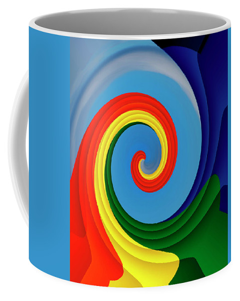 Digital Coffee Mug featuring the photograph Ride The Wave - Colorful Digital Design by Mitch Spence