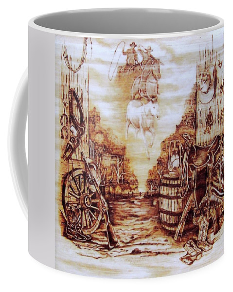 Western Coffee Mug featuring the pyrography Riders In The Sky by Danette Smith