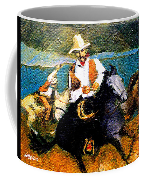 Wranglers Coffee Mug featuring the painting Riders In The Storm by Seth Weaver