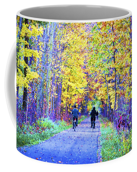 Pumpkinvine Trial Coffee Mug featuring the photograph Riders On The Vine by David Arment