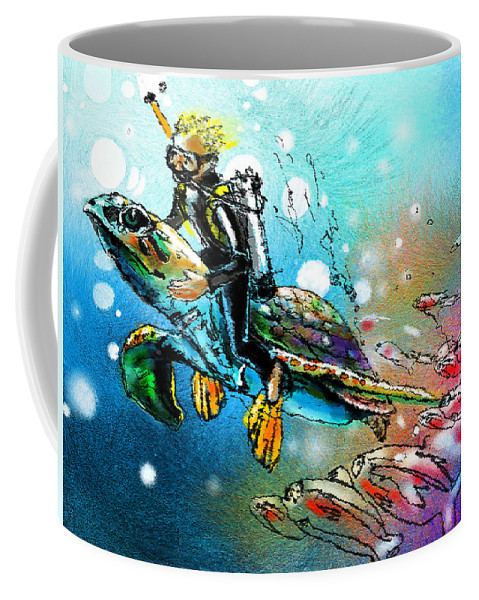 Turtle Painting Coffee Mug featuring the painting Riding A Turtle by Miki De Goodaboom