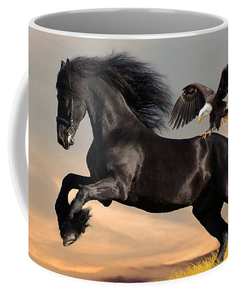 Horse Coffee Mug featuring the mixed media Riding Bareback by Marvin Blaine