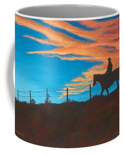 Cowboy Coffee Mug featuring the painting Riding Fence by Jerry McElroy