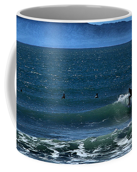 Surfing Coffee Mug featuring the photograph Riding The Crest by Michael Gordon