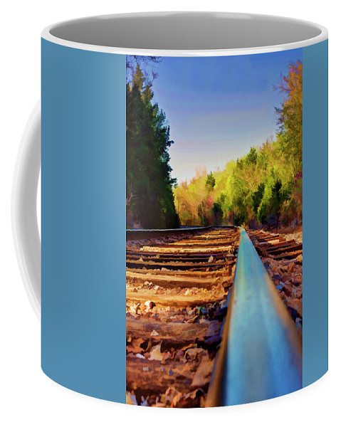Railroad Coffee Mug featuring the photograph Riding The Rail by Ricky Barnard