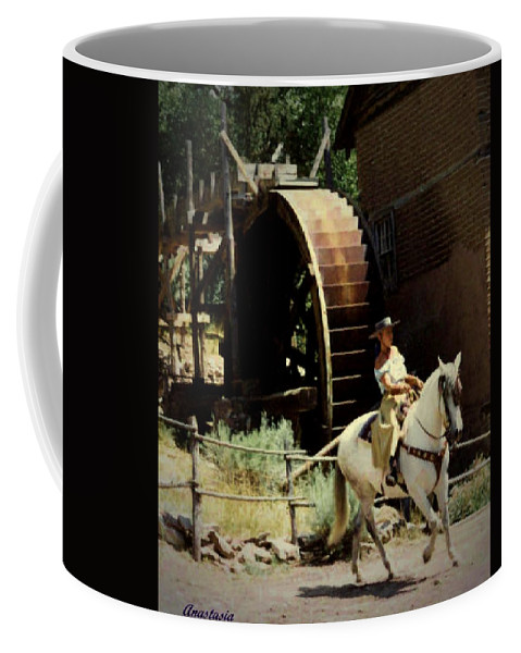 Western Art Coffee Mug featuring the painting Riding The Spanish Mare by Anastasia Savage Ealy