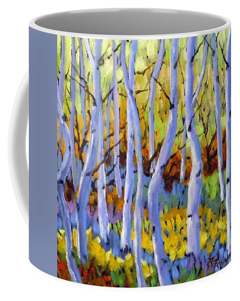 Art Coffee Mug featuring the painting Rigaudon Of Aspens by Richard T Pranke