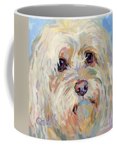 Shaggy Coffee Mug featuring the painting Right Here by Kimberly Santini