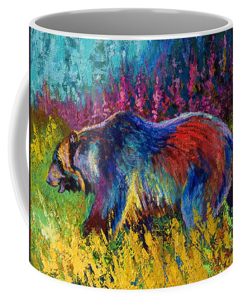 Western Coffee Mug featuring the painting Right Of Way - Grizzly Bear by Marion Rose