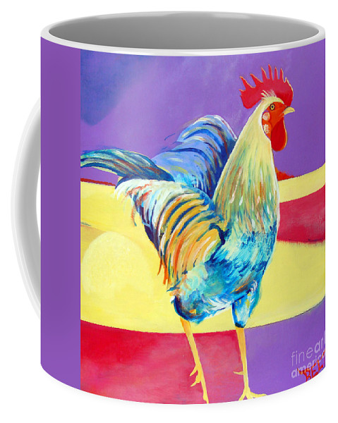 Rooster Coffee Mug featuring the painting Riley The Rooster by Christine Belt