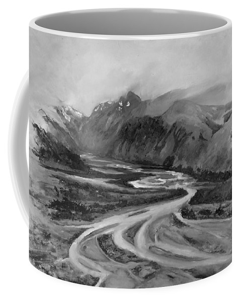 Rio De Las Vueltas Coffee Mug featuring the painting Rio De Las Vueltas In B And W by Silvana Miroslava Albano