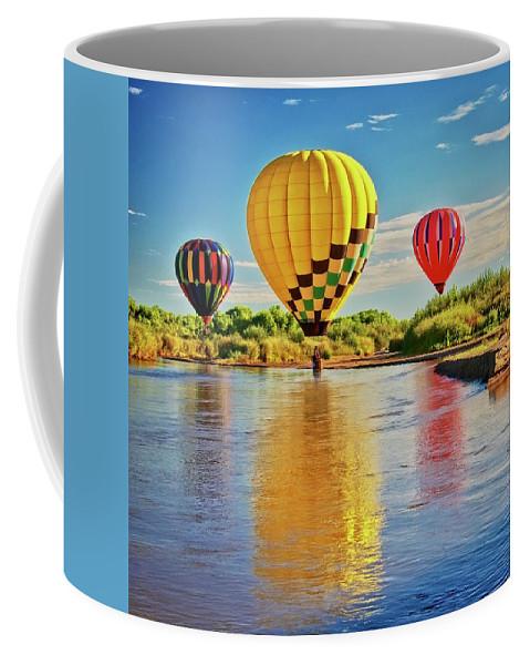 Fine Art Photography Coffee Mug featuring the photograph Rio Grande balloon Reflection, Albuquerque, NM by Zayne Diamond Photographic