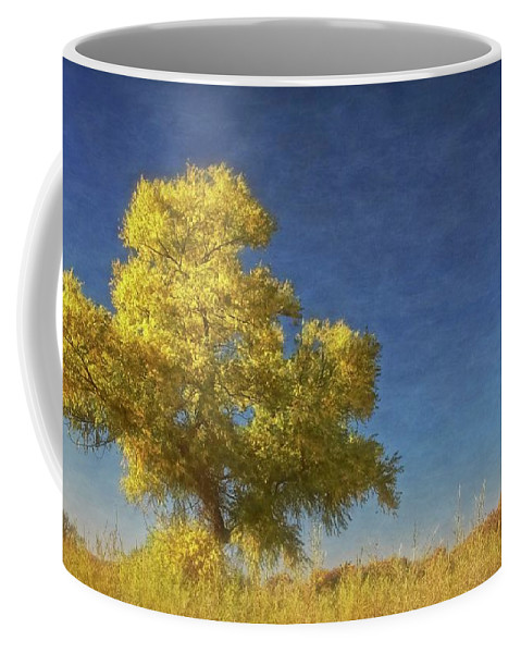 Nature Coffee Mug featuring the photograph Rio Grande Bosque Blue and Gold, New Mexico by Zayne Diamond Photographic