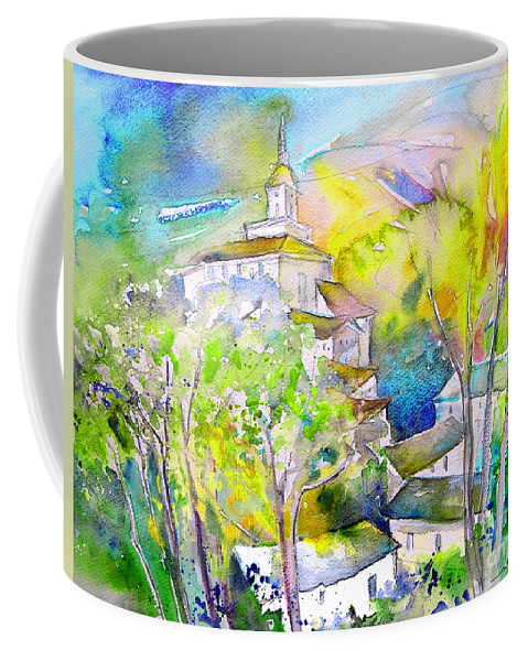 Watercolour Travel Painting Of A Village In La Rioja Spain Coffee Mug featuring the painting Rioja Spain 04 by Miki De Goodaboom